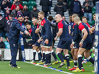 Paul Gustard, Defence Coach leads the team through warm up drills,  England v Ireland in a 6 Nations match at Twickenham Stadium, Whitton Road, Twickenham, England, on 27th February 2016
