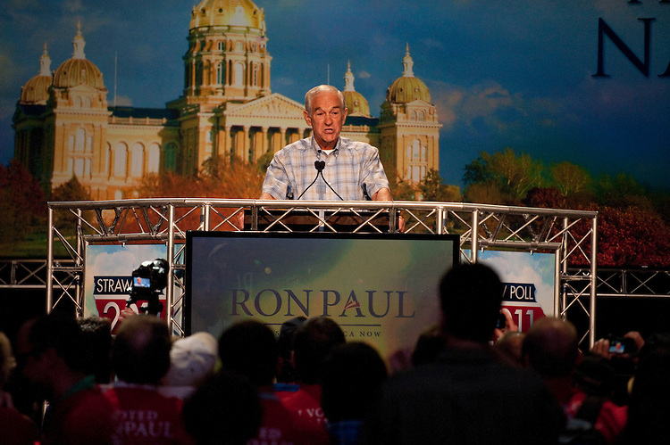 UNITED STATES - AUGUST 13:  Republican presidential candidate Ron Paul addresses the crowd at the Ames Straw Poll at Iowa State University in Ames, Iowa.  (Photo By Tom Williams/Roll Call)