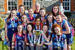 Castleisland Presentation basketballers celebrate winning All Ireland u16 Schools in the National Basketball  Arena Dublin on Tuesday front row l-r: Emma O'Sullivan, Abbie Kelliher, Hanna Herlihy, Aisling Shine. Middle row: Katie Cotter, Cara Fleming, Caoimhe Dairo, Joanna Moynihan, Chantelle Broderick, Back row: Fiona Brosnan, Hilary O'Connor, Mr Enright coach, Danielle Moriarty and Maggie O'Callaghan