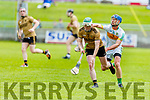 Daniel Collins in possession as Offaly's Sean Cleary closes in on him in the Joe McDonagh Cup relegation game in Tralee on Saturday.