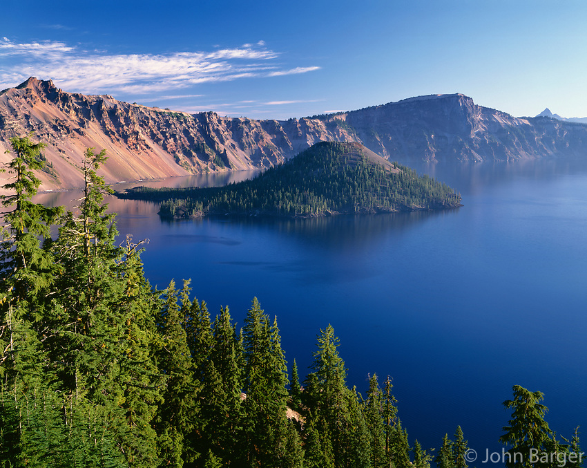 ORCL_076 - USA, Oregon, Crater Lake National Park, Crater Lake and Wizard Island with distant Hillman Peak (left), Llao Rock (right) and Mount Thielsen (far right).