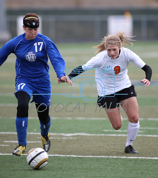 Carson's Michelle Sandage and Katie Dry of Douglas battle for the ball during the girls soccer zone championship at Damonte Ranch High School in Reno, Nev. on Saturday, Nov. 5, 2011 . Carson won 2-1..Photo by Cathleen Allison.