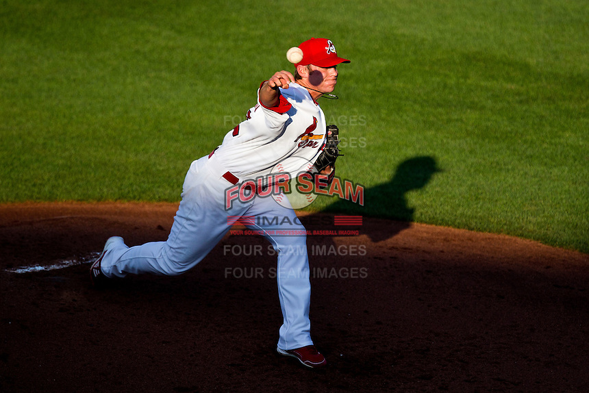 Michael Blazek (33) of the Springfield Cardinals delivers a pitch during a game against the Arkansas Travelers at Hammons Field on May 5, 2012 in Springfield, Missouri. (David Welker/Four Seam Images).