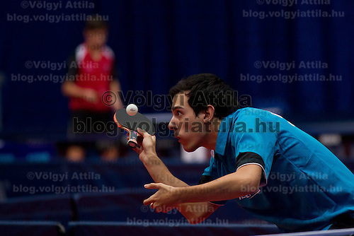 Sweden's Mattias Karlsson plays against .Hungary's Nandor Ecseki (not pictured) during the qualifier of the ITTF World Tour Hungarian Open in Budapest, Hungary on January 17, 2012. ATTILA VOLGYI