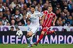 Marco Asensio Willemsen (L) of Real Madrid battles for the ball with Joshua Kimmich of FC Bayern Munich during the UEFA Champions League Semi-final 2nd leg match between Real Madrid and Bayern Munich at the Estadio Santiago Bernabeu on May 01 2018 in Madrid, Spain. Photo by Diego Souto / Power Sport Images