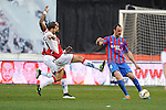 Rayo Vallecano´s Manucho and Roberto Trashorras and Levante UD´s Ivan Ramis Barrios during 2014-15 La Liga match between Rayo Vallecano and Levante UD at Vallecas stadium in Madrid, Spain. February 28, 2015. (ALTERPHOTOS/Luis Fernandez)