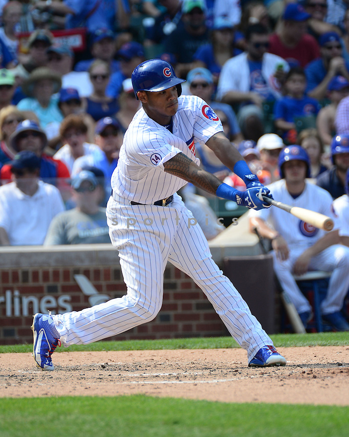 Chicago Cubs Addison Russell (22) during a game against the Arizona Diamondbacks on September 6, 2015 at Wrigley Field in Chicago, IL. The Cubs beat the Diamondbacks 6-4.