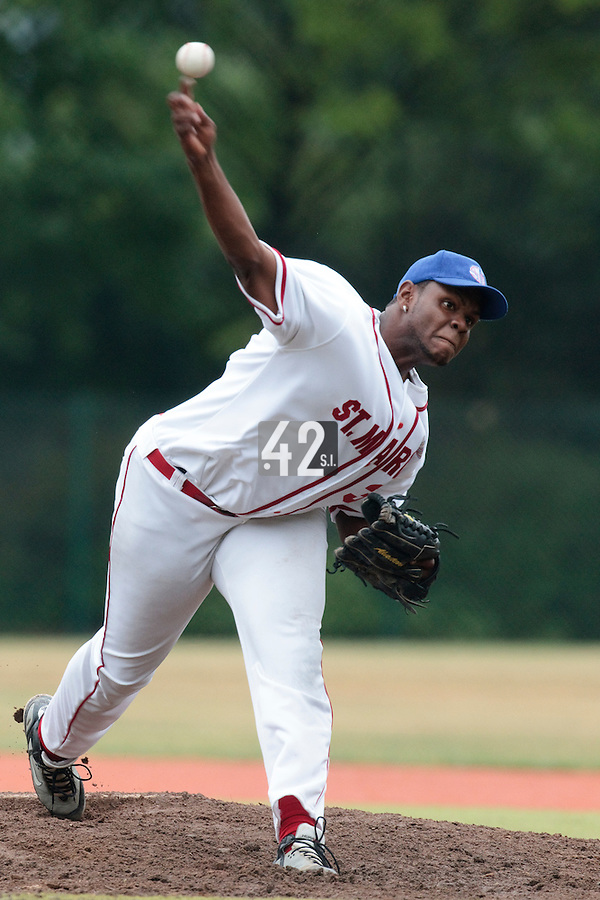 14 July 2010: Miguel Hanson pitches against Team All Star Elite during day 2 of the Open de Rouen, an international tournament with Team France, Team Saint Martin, Team All Star Elite, at Stade Pierre Rolland, in Rouen, France.