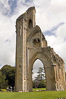 One of the ruins of Glastonbury Abbey in Glastonbury, England