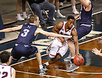 SIOUX FALLS, SD: MARCH 22: Al Davis #3 of Bellarmine dribbles away from pressure by Ben Sonnenfeld #3 of Colorado Mines during the Men's Division II Basketball Championship Tournament on March 22, 2017 at the Sanford Pentagon in Sioux Falls, SD. (Photo by Dick Carlson/Inertia)