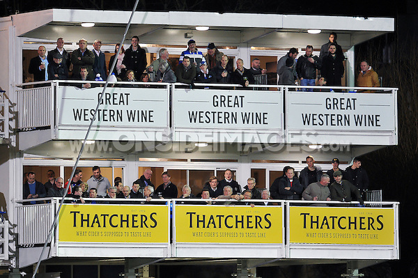 A general view of the Thatchers and Great Western Wine hospitality boxes during the match. Aviva Premiership match, between Bath Rugby and Gloucester Rugby on February 5, 2016 at the Recreation Ground in Bath, England. Photo by: Patrick Khachfe / Onside Images