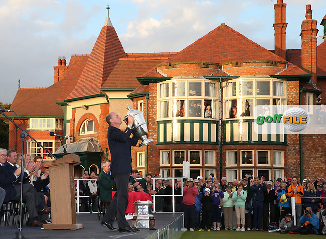 Nigel Edwards  lifts The Walker Cup 2015, played at Royal Lytham and St Anne's, Lytham St Anne's, Lancashire, England. 13/09/2015. Picture: Golffile | David Lloyd<br /> <br /> All photos usage must carry mandatory copyright credit (&copy; Golffile | David Lloyd)
