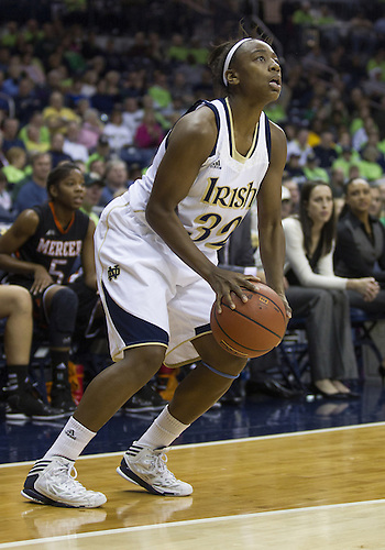 November 20, 2012:  Notre Dame guard Jewell Loyd (32) sets to shoot the ball during NCAA Women's Basketball game action between the Notre Dame Fighting Irish and the Mercer Bears at Purcell Pavilion at the Joyce Center in South Bend, Indiana.  Notre Dame defeated Mercer 93-36.
