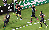 BOGOTA -COLOMBIA, 5- OCTUBRE-2014. Luis Paez del  Atletico Nacional convierte  su gol contra el Independiente Santa Fe durante partido   de La Liga Postobón treceava fecha 2014-2. Estadio  Nemesio Camacho El Campin   / Luis Paez of Atletico Nacional scores  his goal against of Independiente Santa Fe during La Liga match Postobón  13th 2014-2.  Nemesio Camacho El Campin stadium . Photo: VizzorImage / Felipe Caicedo / Staff