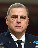 "United States Army General Mark A. Milley, Chief of Staff of The Army, appears before the US Senate Committee on Armed Services to give testimony ""on the posture of the Department of the Army in review of the Defense Authorization Request for Fiscal Year 2019 and the Future Years Defense Program"" on Capitol Hill in Washington, DC on Thursday, April 12, 2018.<br /> Credit: Ron Sachs / CNP"