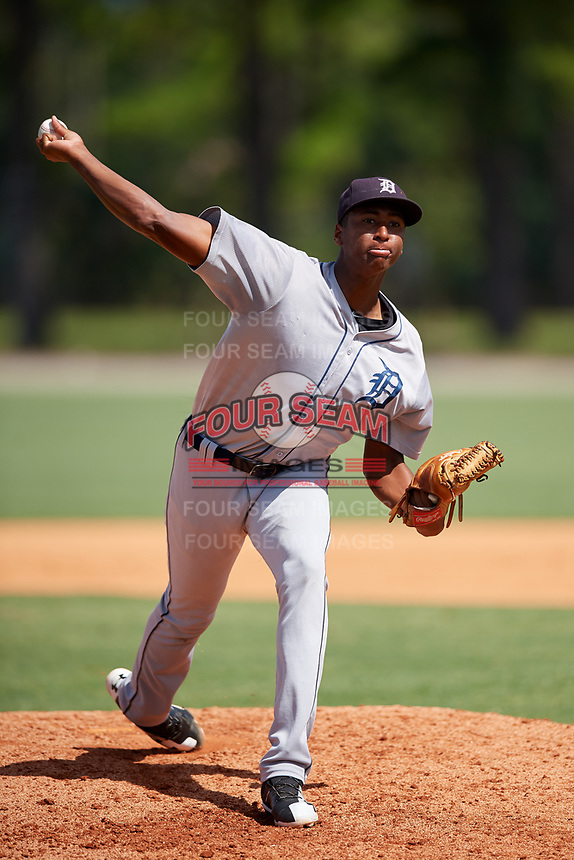 GCL Tigers West relief pitcher Xavier Javier (25) delivers a pitch during a game against the GCL Tigers East on August 8, 2018 at Tigertown in Lakeland, Florida.  GCL Tigers East defeated GCL Tigers West 3-1.  (Mike Janes/Four Seam Images)