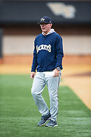 Georgia Tech Yellow Jackets head coach Danny Hall walks towards home plate to argue a call during the game against the Wake Forest Demon Deacons at David F. Couch Ballpark on March 26, 2017 in  Winston-Salem, North Carolina.  The Demon Deacons defeated the Yellow Jackets 8-4.  (Brian Westerholt/Four Seam Images)