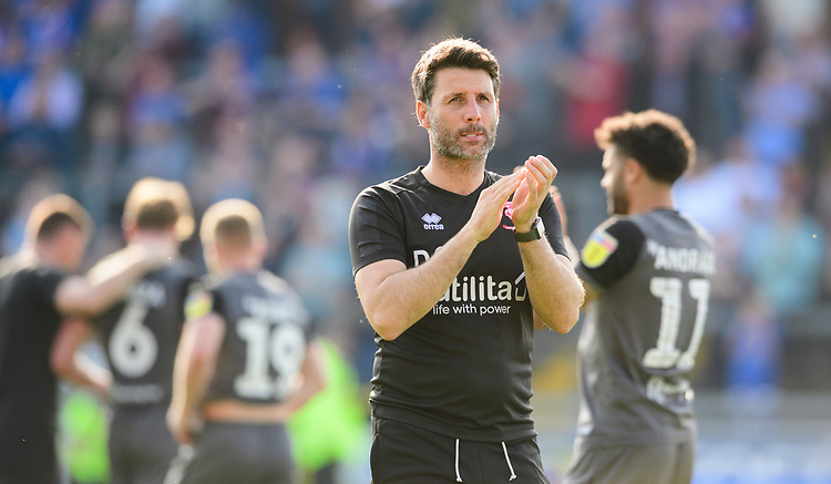 Lincoln City manager Danny Cowley applauds the fans at the final whistle<br /> <br /> Photographer Chris Vaughan/CameraSport<br /> <br /> The EFL Sky Bet League Two - Carlisle United v Lincoln City - Friday 19th April 2019 - Brunton Park - Carlisle<br /> <br /> World Copyright © 2019 CameraSport. All rights reserved. 43 Linden Ave. Countesthorpe. Leicester. England. LE8 5PG - Tel: +44 (0) 116 277 4147 - admin@camerasport.com - www.camerasport.com