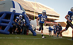 The Friendswood Mustangs take the field for their playoff game against Lake Travis. Friendswood lost to the Lake Travis Cavaliers 24 - 3 at Kyle Field on December 11, 2010 in the Class 4A, D-1 state semifinals.