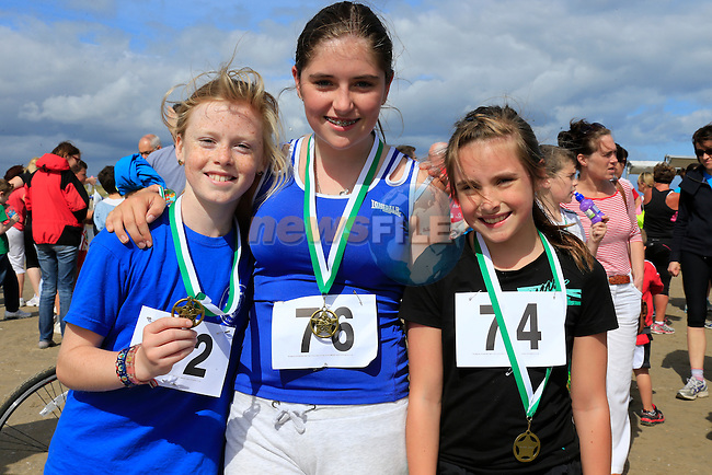 Alannagh Boland, Meave Hurley and Ava Hurley<br /> at the Golden Sands 5k Fun Day on Bettystown beach.<br /> Picture www.newsfile.ie