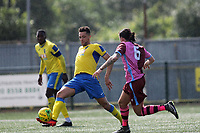 Lionel Stone of Haringey and Coskun Ekim of Corinthian during Haringey Borough vs Corinthian Casuals, BetVictor League Premier Division Football at Coles Park Stadium on 10th August 2019