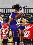 Prairie View A&M Lady Panthers cheerleaders in action during the SWAC Tournament Championship game between the Prairie View A&M Lady Panthers and the Southern University Jaguars at the Special Events Center in Garland, Texas. Prairie View defeats  Southern 48 to 44