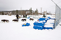 Rick Swenson mushes into the Nulato checkpoint on Saturday afternoon in 5th place during 2008 Iditarod