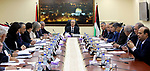 Palestinian Prime Minister, Rami Hamdallah, chairs a meeting of minister council, in the West bank city of Ramallah, on March 12, 2018. Photo by Prime Minister Office