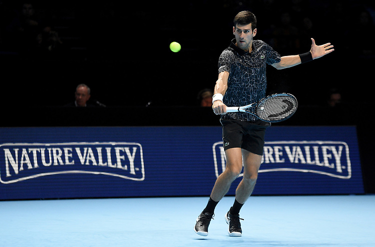 Novak Djokovic in action against John Isner <br /> <br /> Photographer Hannah Fountain/CameraSport<br /> <br /> International Tennis - Nitto ATP World Tour Finals Day 2 - O2 Arena - London - Monday 12th November 2018<br /> <br /> World Copyright © 2018 CameraSport. All rights reserved. 43 Linden Ave. Countesthorpe. Leicester. England. LE8 5PG - Tel: +44 (0) 116 277 4147 - admin@camerasport.com - www.camerasport.com