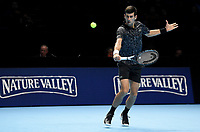 Novak Djokovic in action against John Isner <br /> <br /> Photographer Hannah Fountain/CameraSport<br /> <br /> International Tennis - Nitto ATP World Tour Finals Day 2 - O2 Arena - London - Monday 12th November 2018<br /> <br /> World Copyright &copy; 2018 CameraSport. All rights reserved. 43 Linden Ave. Countesthorpe. Leicester. England. LE8 5PG - Tel: +44 (0) 116 277 4147 - admin@camerasport.com - www.camerasport.com