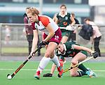 ALMERE - Hockey - Overgangsklasse competitie dames ALMERE- ROTTERDAM (0-0) .  Joelle Angel (Almere met rechts  Frederique Moerman.   COPYRIGHT KOEN SUYK
