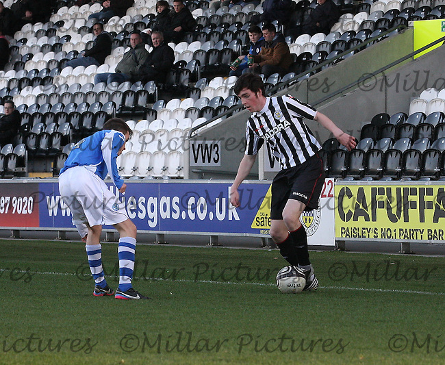 Sean Kelly being closed down by Chris Tobin in the St Mirren v St Johnstone Clydesdale Bank Scottish Premier League Under 20 match played at St Mirren Park, Paisley on 16.4.13.