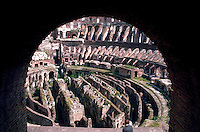Rome, Italy. View of the Colosseum (Flavian Amphitheater) seen through an archway.