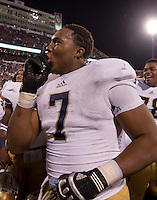 Defensive end Stephon Tuitt (7) celebrates after the win.