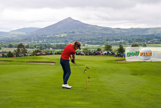 Hannah O&quot;Sullivan on the 9th during Sunday Singles matches at the 2016 Curtis cup from Dun Laoghaire Golf Club, Ballyman Rd, Enniskerry, Co. Wicklow, Ireland. 12/06/2016.<br /> Picture Fran Caffrey / Golffile.ie<br /> <br /> All photo usage must carry mandatory copyright credit (&copy; Golffile | Fran Caffrey)