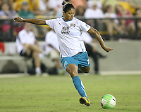 Cristiane #78 of Marta's XI winds up for a shot during the WPS All-Star game against Abby's XI at the KSU Stadium in Kennesaw, Georgia on June 30 2010. Marta XI won 5-2.
