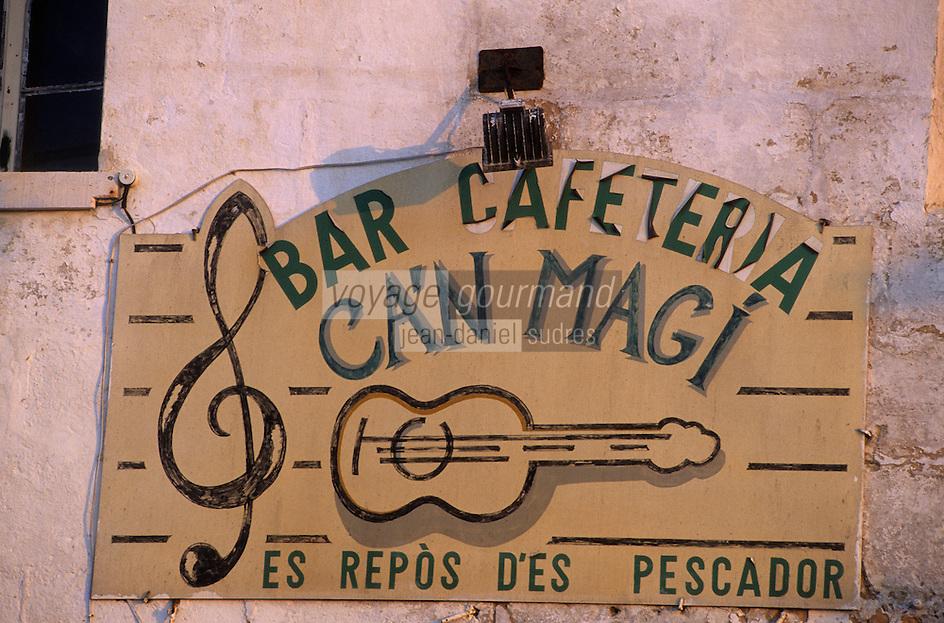 Europe/Espagne/Baléares/Minorque/Mahon : Enseigne d'un bar