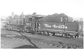 3/4 rear fireman's-side view of D&amp;RGW #361 in Gunnison yard.<br /> D&amp;RGW  Gunnison, CO  Taken by McCarter, M. D.