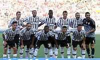 Calcio, Serie A: Roma vs Juventus. Roma, stadio Olimpico, 30 agosto 2015.<br /> Juventus' players, from left, back row, Stephan Lichsteiner, Giorgio Chiellini, Paul Pogba, Mario Mandzukic, Leonardo Bonucci, Gianluigi Buffon, front row, Paulo Dybala, Martin Caceres, Patrice Evra, Stefano Sturaro and Simone Padoin pose prior to the start of the Italian Serie A football match between Roma and Juventus at Rome's Olympic stadium, 30 August 2015.<br /> UPDATE IMAGES PRESS/Isabella Bonotto