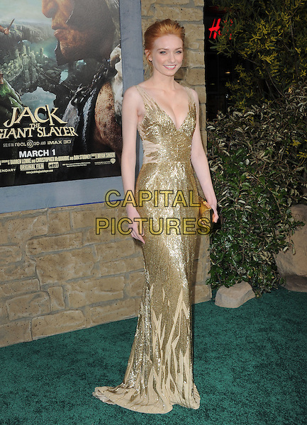 "Eleanor Tomlinson.""Jack The Giant Slayer"" Los Angeles Premiere held at Grauman's Chinese Theatre, Hollywood, California, USA..February 26th, 2013.full length gold dress metallic beads beaded cleavage  clutch bag.CAP/RKE/DVS.©DVS/RockinExposures/Capital Pictures."