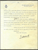 BNPS.co.uk (01202) 558833<br /> Picture: collect<br /> <br /> A letter from the exiled Edward VIII finally lifts the lid on the bitter rancour within the Royal family over his marriage to American divorcee Wallis Simpson.<br /> <br /> A candid letter revealing the Royal Family's bitter resentment towards Edward VIII following his controversial abdication has come to light. <br /> <br /> The letter from Edward to press baron Lord Beaverbrook was penned in 1939, less than three years after he rocked the nation by stepping down as King.<br />  <br /> The three-page letter reveals he was warned to stay away from England while his brother Albert established himself as the new King. <br /> <br /> The letter was part of Lord Beaverbrook's archive which was sold following his death in 1964, and is now being sold by for &pound;8,000.
