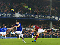 26th December 2019; Goodison Park, Liverpool, Merseyside, England; English Premier League Football, Everton versus Burnley; Robbie Brady of Burnley attempts a diving header at the Everton goal - Strictly Editorial Use Only. No use with unauthorized audio, video, data, fixture lists, club/league logos or 'live' services. Online in-match use limited to 120 images, no video emulation. No use in betting, games or single club/league/player publications