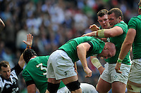 Paul O'Connell of Ireland is congratulated on his try. QBE International match between England and Ireland on September 5, 2015 at Twickenham Stadium in London, England. Photo by: Patrick Khachfe / Onside Images