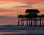 Fisherman on Pier at Cocoa Beach at Sunrise