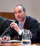 UTRECHT _ Algemene Ledenvergadering Utrecht, van de KNHB.  KNHB voorzitter Erik Cornelissen .   COPYRIGHT KOEN SUYK