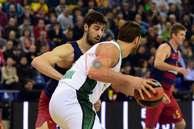 Turkish Airlines Euroleague 2016/2017.<br /> Regular Season - Round 15.<br /> FC Barcelona Lassa vs Darussafaka Dogus Istanbul: 81-77.<br /> Ante Tomic vs Semih Erden.