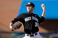 Starting pitcher Tim Cooney #35 of the Wake Forest Demon Deacons in action at the Wake Forest Baseball Park March 6, 2010, in Winston-Salem, NC.  Photo by Brian Westerholt / Four Seam Images