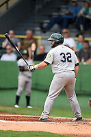 Beloit Snappers catcher Josh Ludy (32) at bat during a game against the Clinton LumberKings on August 17, 2014 at Ashford University Field in Clinton, Iowa.  Clinton defeated Beloit 4-3.  (Mike Janes/Four Seam Images)