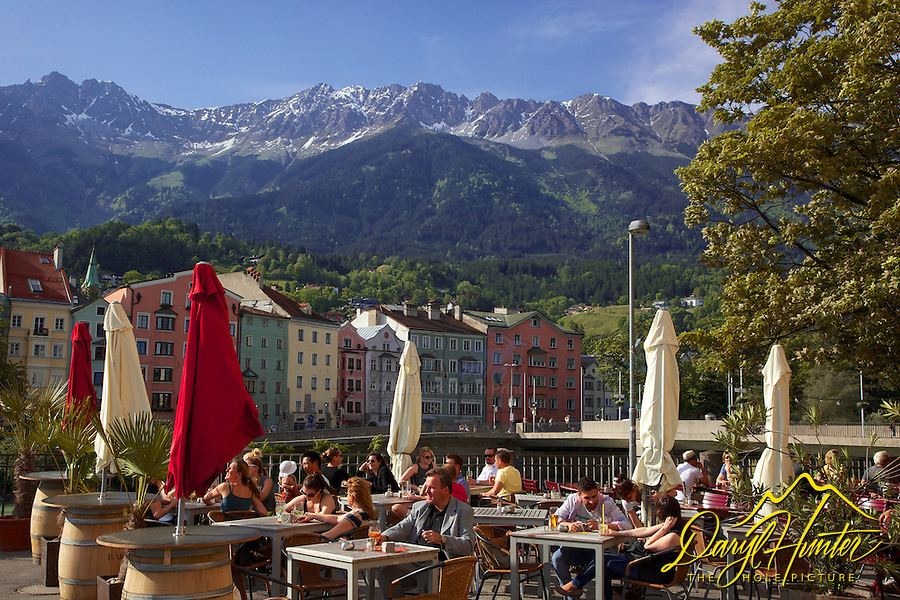 Outdoor cafe, Innsbruck Austria, old town,  Nordkette mountain