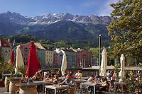 Outdoor cafe, Innsbruck Austria, old town,  Nordkette mountain